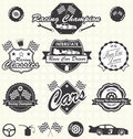 Vector set retro race car labels collection of vintage style champion and icons Stock Images