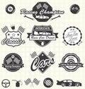 Vector Set: Retro Race Car Labels