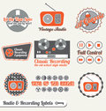 Vector Set: Retro Recording Labels and Stickers Royalty Free Stock Photo