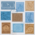 Vector Set of Retro SEA POST Stamps Royalty Free Stock Image