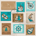 Vector set retro sea post stamps high quality design scrapbook Stock Photo