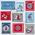 Vector set retro sea post stamps high quality design scrapbook Stock Images
