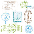 Vector Set of Retro SEA stamps Royalty Free Stock Photo