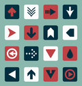Vector set retro style flat arrow buttons collection of color scheme and icons Stock Photo
