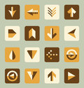 Vector set retro style flat arrow buttons collection of color scheme and icons Stock Photos
