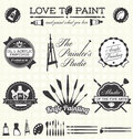 Vector set retro style painter labels and icons collection of artist Stock Photography