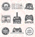Vector set retro video game labels and icons collection of Stock Photo