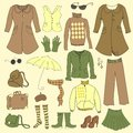 Vector set retro woman clothes hipster collection Stock Photography
