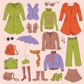 Vector set retro woman clothes hipster collection Royalty Free Stock Images