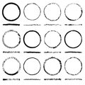 Vector set of round frames sloppy shape and texture made grunge