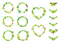 Vector set of round and heart shape wreaths