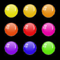Vector set of round spherical buttons. Royalty Free Stock Photo