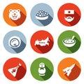 Vector Set of Russia Icons. Bear, Caviar, Soldier, Dumpling, Territory, Cuisine, Balalaika.