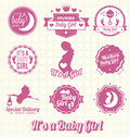 Vector set it s a baby girl labels collection of and icons in retro style Stock Photography