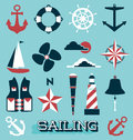 Vector set sailing icons and labels collection of retro style flat objects Royalty Free Stock Photo