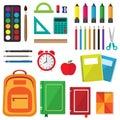 Vector set of school supplies Royalty Free Stock Photo