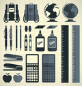 Vector set school supplies silhouettes and icons collection of retro style supply Royalty Free Stock Image