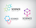 Vector set of science logos, biology, physics, chemistry logo