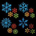Vector set of scratch snowflake Royalty Free Stock Image