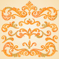 Vector set of scrolls and vignettes in Victorian style. Royalty Free Stock Photo