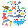 Vector set of sea creatures. Cute cartoon animals Royalty Free Stock Photo