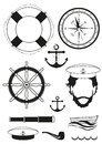 Vector. Set of sea and nautical decorations Royalty Free Stock Photo