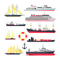Vector set of sea ships, boats and yacht isolated on white background. Marine transport design elements, icons in flat