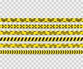 Vector set of seamless caution tapes. Warning tape, danger tape, caution tape, danger tape, under construction tape. Royalty Free Stock Photo