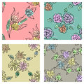Vector set of seamless floral pattern with flowers, leaves, decorative elements, splash, blots, drop Hand drawn contour lines and