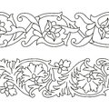 Vector set of seamless floral ribbon patterns in ethnic national style of Uzbekistan. Royalty Free Stock Photo