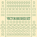 Vector set of seamless ornate and floral brushes. Royalty Free Stock Photo