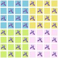 Vector set of seamless pattern with checked background and iris flowers. Background colors are light pink, sky blue, light green a
