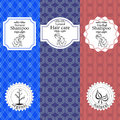 Vector set of seamless patterns, labels and logo design templates for natural herbal shampoo packaging and wrapping