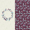 Vector set with seamless vector violet flower hand drawn pattern and light background with circle flower frame Royalty Free Stock Photo