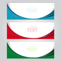 Vector set set of three banners abstract headers with blue red green Stock Image
