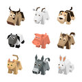 Vector set sf different cartoon isometric 3d animals