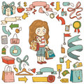 Vector set of shopping items, girl with shopping bags Royalty Free Stock Photo