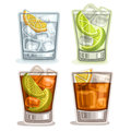 Vector set of short Drinks Royalty Free Stock Photo