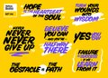 Vector Set of Short Positive Quotes. Motivational Cards.