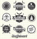 Vector set shuffleboard labels and icons collection of retro style Royalty Free Stock Photo