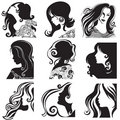Vector set of silhouette - beautiful woman Stock Photos