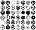 Vector set of silhouettes of gears and other round black objects Royalty Free Stock Photos