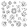 Vector Set of Simple Decorative Flowers