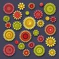 Vector Set of Simple Decorative Flowers