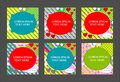 Vector set of six cards in geometric style with simple shapes. Can be used in cover design for posters, invitations, book design,
