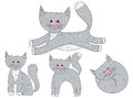 Vector set of sketch cat characters in different poses.