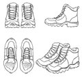 Vector Set of SKetch Hiking Boots. Side, Front and Top View Royalty Free Stock Photo