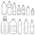 Vector Set of Sketch Plastic Bottles