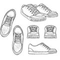 Vector Set of Sketch Skaters Shoes. Top, Side and Front Views