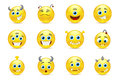 Vector set of smileys style toothy alien monsters Royalty Free Stock Photo